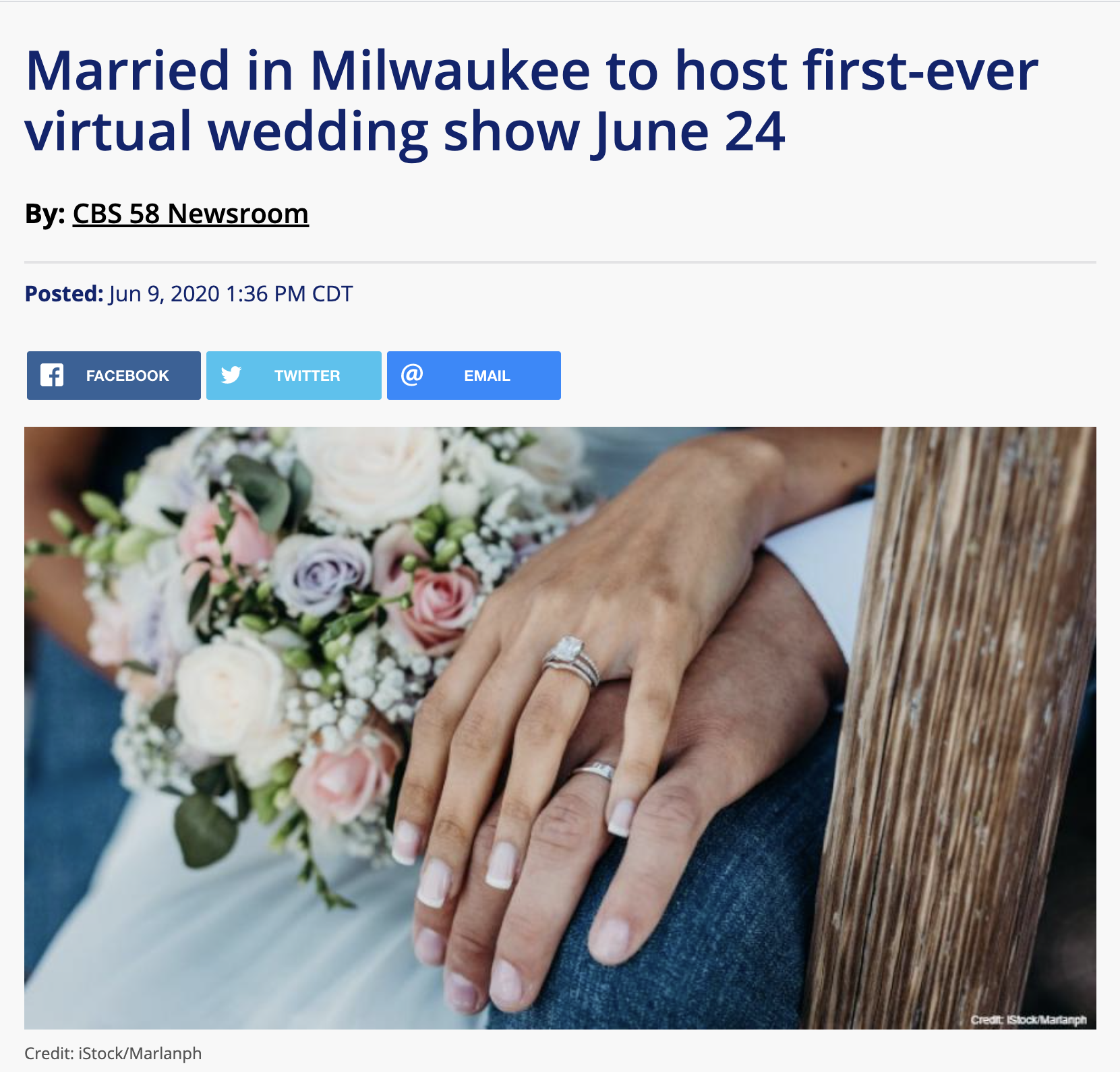 CBS58 Covers First Ever Virtual Wedding Show