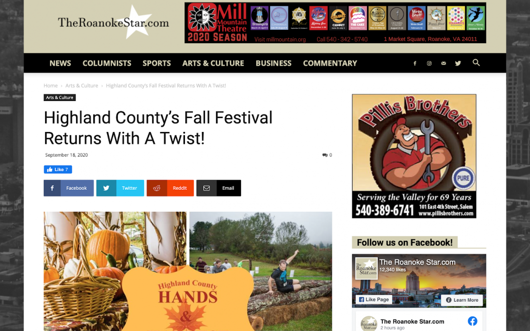 Upcoming BoothCentral Highland County Fall Festival featured in The Roanoke Star