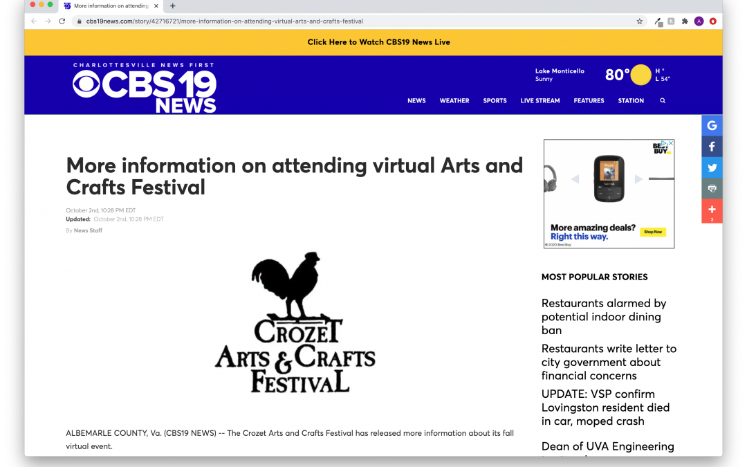 Charlottesville's CBS19 News covers BoothCentral Virtual Event