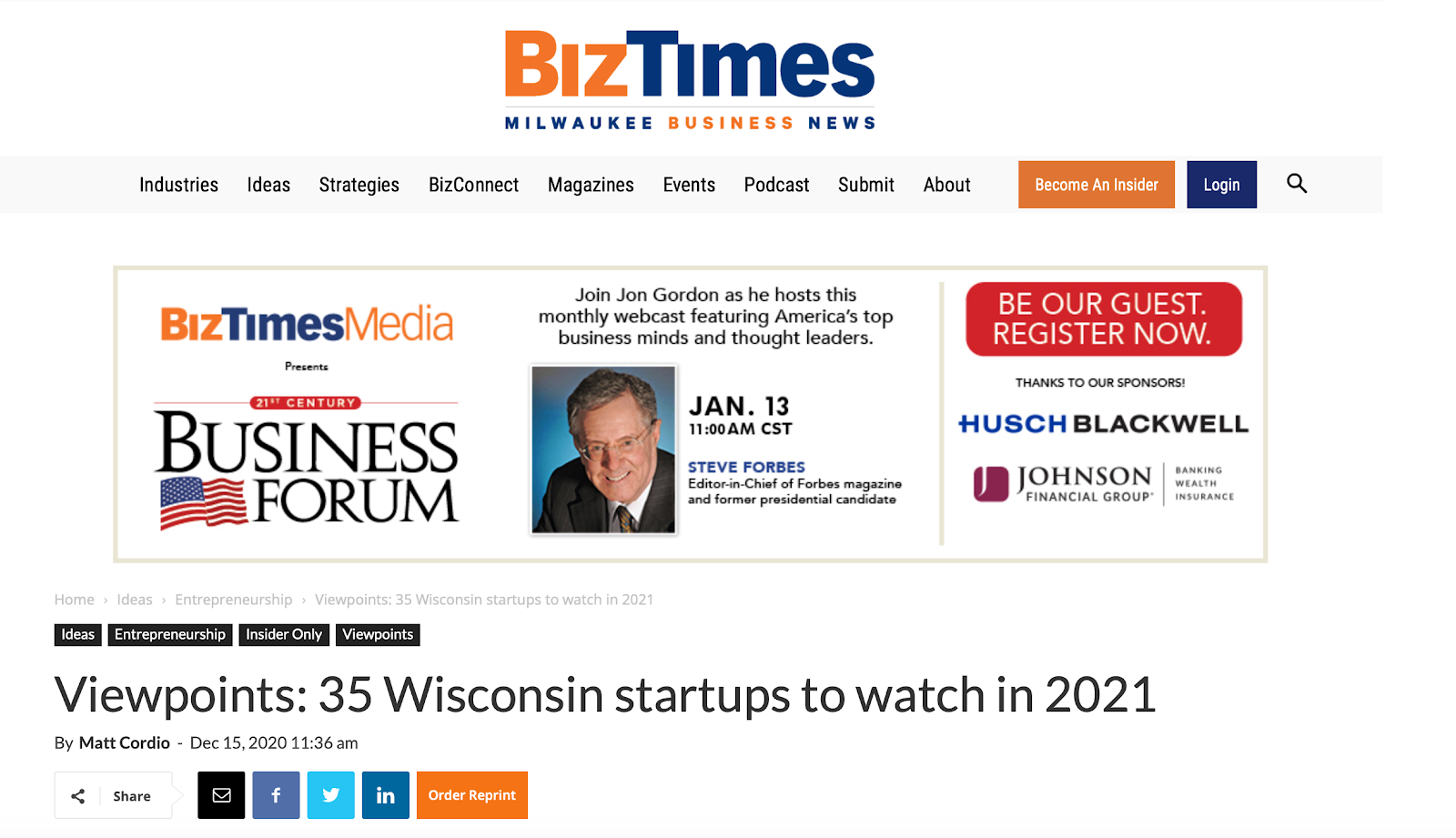 BoothCentral named as one of the 35 Wisconsin Startups to Watch